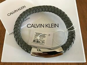Calvin Klein Stainless Steel Bewilder Leather Bracelet KJ2BCB09010M - New