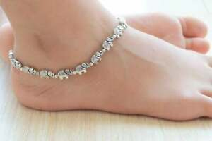 Silver Anklet for Women, Boho Beach, Indian Elephant,Tribal German Silver Anklet