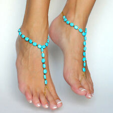 Turquoise Beads Foot Ankle Bracelet Xr Sexy Yoga Dance Beach Barefoot Sandals