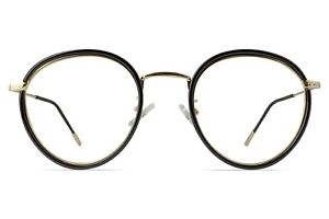 March Round Gold Glasses with Bold Black Overlay Unisex 49-21-147