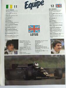 Lotus team vintage poster-folder, formula 1, Brazil year 1984.