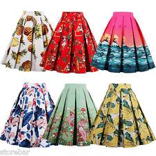 Vintage Retro 50s Full Circle Rockabilly Jive A Line Swing Midi Skirt Dress HOT