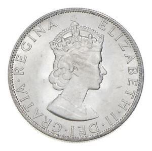 Choice BU Unc 1964 Bermuda 1 Crown Silver Coin - Mint State *805