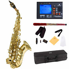 Mendini Curved Bb Soprano Saxophone Sax ~Gold Lacquered +Tuner ~MSS-CSL