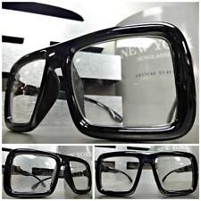 LARGE OLD SCHOOL VINTAGE RETRO Style Clear Lens GLASSES FRAME Hipster Nerd Smart