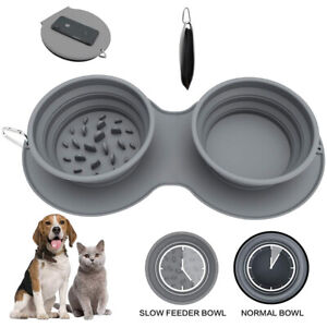 Collapsible Dog Double Bowls Portable Pet Slow Feeder Food Feeding Travel Dish