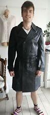 """Men's Vintage CSL Biker Officer Black 100% Leather Pea Coat L Pit To Pit 22.5"""""""