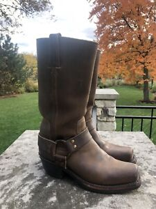 Women's FRYE 77300 HARNESS Oiled LEATHER MOTO WORK BOOTS SZ 6.5 M BROWN NICE!