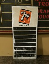 1940s 1950s 7up Menu Board Lunch Counter Sign Aluminum Soda Shop 7 Up
