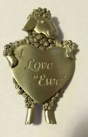 "JJ VINTAGE SHEEP HOLDING HEART THAT SAYS "" I LOVE EWE"" PEWTER BROOCH PIN"