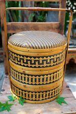 Vintage Asian Chinese 3 Tier Wedding Storage Basket Bamboo & Woven Rattan