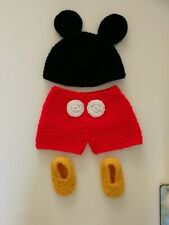 Crocheted Disneys Mickey Mouse Newborn Outfit *Photoshoot*Keepsake*Babyshower...