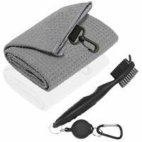 "Trifold Golf Towel Microfiber Waffle 16"" x 24"" Hook Bag Clip w/Free Clean Brush"