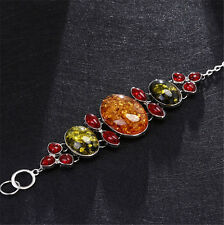 New Charm Faux Amber Beads Teardrop Statement Chain Charm Link Bangle Bracelet
