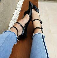 Zara Leather Flat Shoes Ankle Strap UK4 EUR37 US6.5