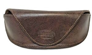 Fossil Leather Sunglass Eyeglass Hard Case Magnetic Flap over Soft Brown Leather