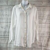 J Jill Love Linen Womens Top Sz Medium White Long Sleeve Button Front