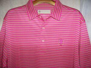 "men's sz M 46"" tru-sz L lux Donald Ross golf polo shirt Irondequoit CC pink lime"