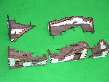 WARHAMMER SCENERY ,LASER CUT, HANDMADE RUINED HOUSE SECTIONS, PAINTED