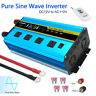3000W 6000W pure sine wave power inverter 12V DC to 110V 120V AC Converter 4USB