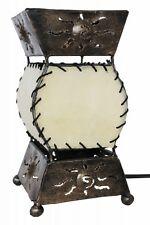 Tischlampe Tischleuchte Nachttischlampe Leder & Metall natur Afrika Asien 20cm