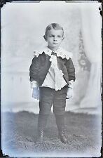 Antique 4x6 Glass Plate Negative Portrait of Young Boy Standing (V3785)