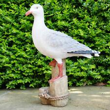 Resin Outdoor Garden Standing Seagull On Plinth Lawn Sculpture Ornament Statue