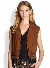 NWT HAUTE HIPPIE WOMEN SzM SUEDE LEATHER MOTOCYCLE STUDED VEST COGNAC $695.