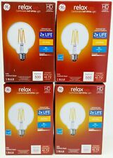 4 - Ge 2x Life G30 Medium Base Clear Light Bulb Hd Relax Led 60w Soft White New