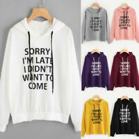 Women's Letter Print Hoodie Sweatshirt Jumper Hooded Pullover Tops Blouse Coat