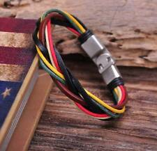G125 Metal Clasp Braided Hemp Leather Wristband Bracelet Cuff Cool Multi-color