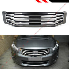 For 2008-2010 8th Gen Honda Accord 4dr Sedan Chrome Blk Horizontal Front Grille