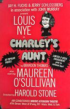 "CHARLEY'S AUNT ORIGINAL BROADWAY WINDOW CARD 22"" X 14"" LOUIS NYE, M. O'SULLIVAN"
