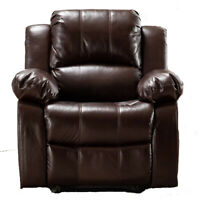 Manual Recliner Chair Heavy Duty Frame Premium Couch Breathable Leather Sofa