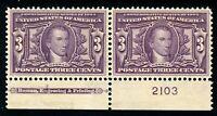 USAstamps Unused XF US 1904 Louisiana Purchase Plate # Imprint Scott 325 OG MLH