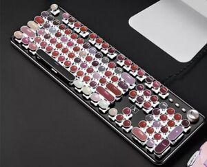 Fun Retro Typewriter Style Keyboard, Steampunk USB Laptop Gaming Pink Palette