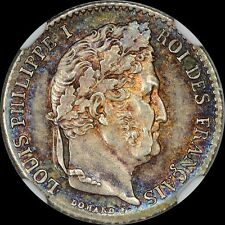"A GLORIOUS UBER-LOOKER NGC MS64 1831-B FRANCE 1/4 FRANC ""LOUIS PHILIPPE I"" TONED"
