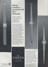 1964 Omega PRINT AD details three beautiful Diamond & Gold watches