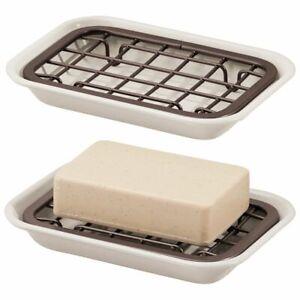 mDesign Metal Kitchen Soap Dish Tray, Drainage Grid/Holder, 2 Pack, Cream/Bronze
