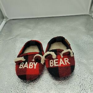 Red Plain And Black Buffalo Check Faux Sherpa Slippers Toddler Sz 5-6 With...