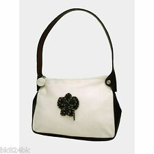 PULICATI Italian Handbag Rosette Leather Canvas Shoulder Bag White/Brown
