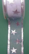 0,40€/m 4 Meter x 25 mm  Organza Schleifenband  Sternedruck Silber Geschenkband
