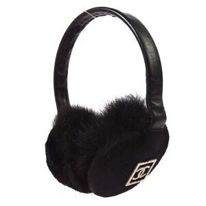 CHANEL CC Logos Ear Muffs Ear Warmers Black Fur Accessory Authentic YG02033j