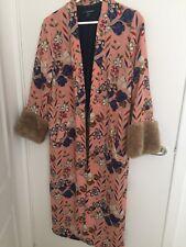 Zara Kimono Coat Jacket Printed Rare Fur Detail