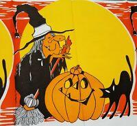 Vintage Halloween WITCH & BLACK CAT Paper Tablecloth 1980s Jack O Lantern JOL