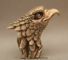 Folk Chinese Silver FengShui Wealth Bird Eagle Hawk Head Set Statue Animals