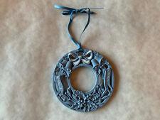 Wedgwood 1991 First 1st Annual Blue Jasperware Noel Wreath Christmas Ornament
