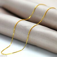New Fine Solid Au750 18K Yellow Gold Women's Box Chain Necklace 16.5inch