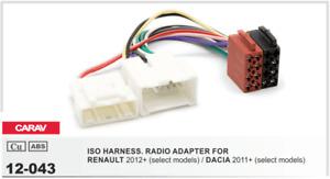 CARAV 12-043 Conector ISO OEM Adaptador Radio RENAULT 2012+, DACIA 2011+