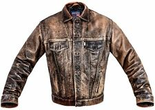 LEVI'S LEATHER JACKET mens coat XL LEVI trucker DISTRESSED VINTAGE BROWN ORANGE